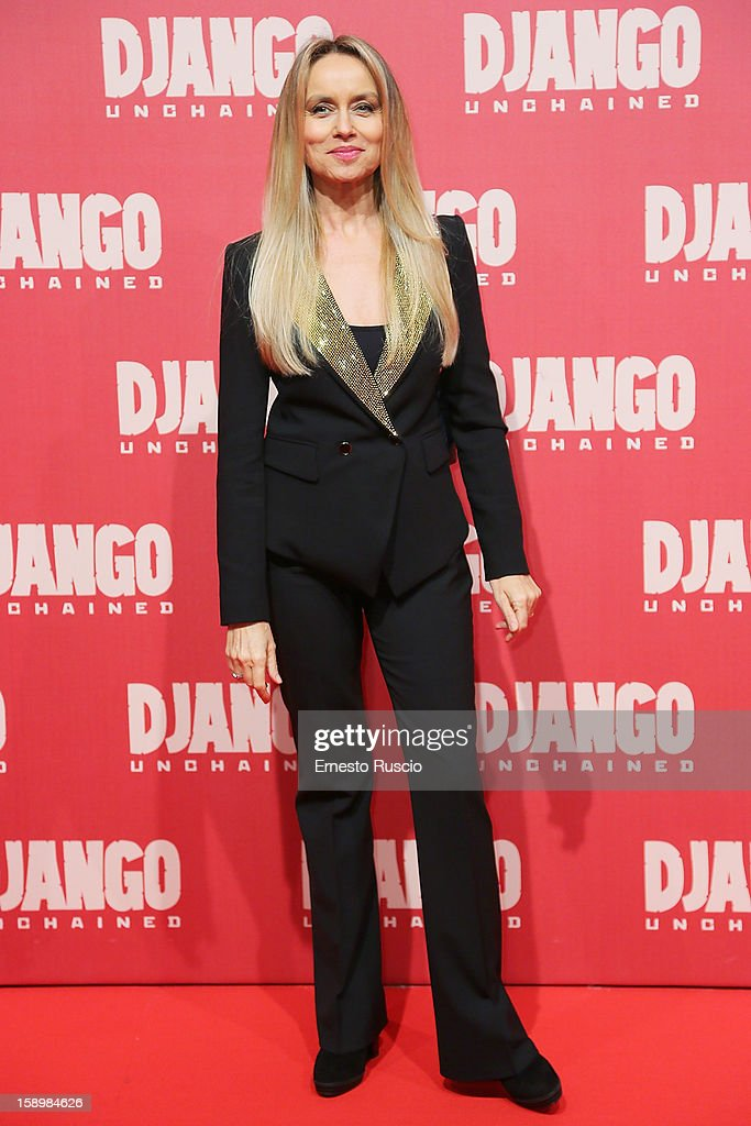 Gloria Guida attends the 'Django Unchained' premiere at Cinema Adriano on January 4, 2013 in Rome, Italy.