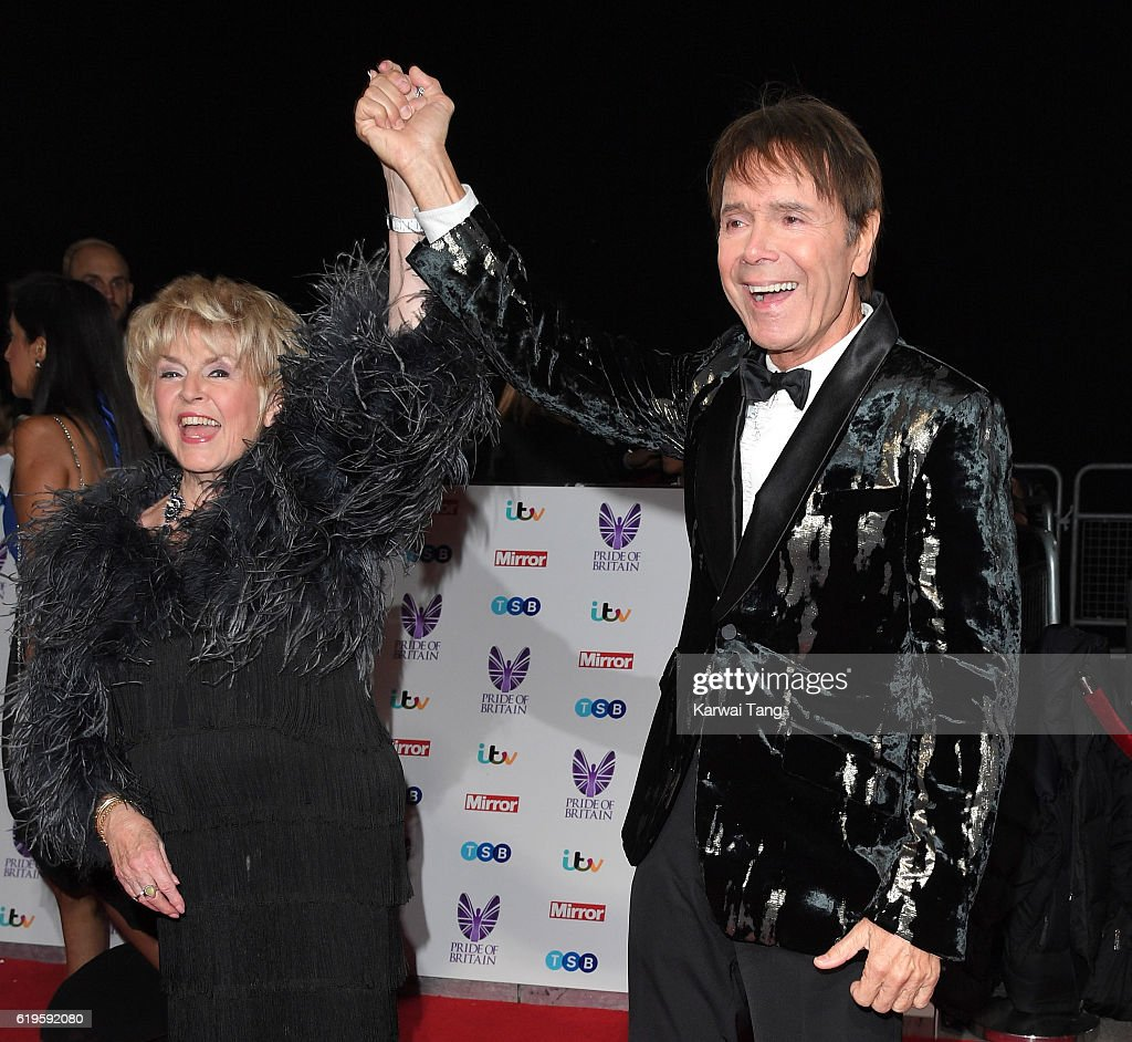 Gloria Hunniford and Sir Cliff Richard attend the Pride Of Britain Awards at The Grosvenor House Hotel on October 31, 2016 in London, England.