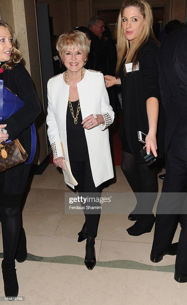 Gloria Hunniford attends a fundraising event in aid of The Health Lottery hosted by Simon Cowell at Claridges Hotel on March 28, 2013 in London, England.