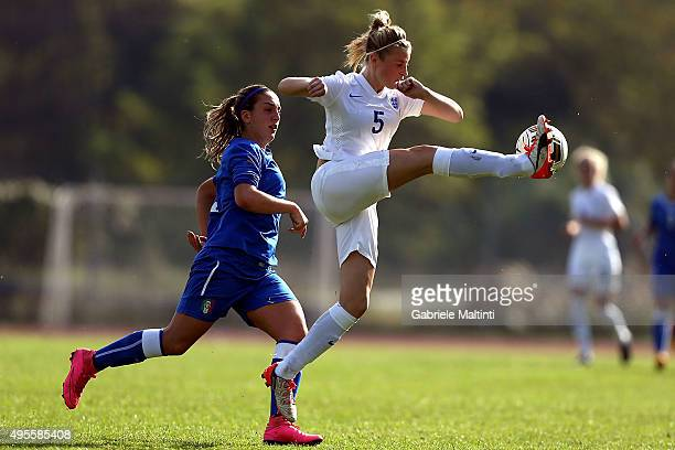 Gloria Marinelli of Italy U19 women's battles for the ball with Leah Williamson of England U19 women's during the international friendly match...