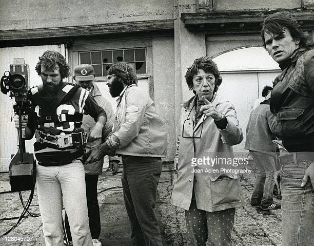 Gloria Monty with Richard Dean Anderson and crew on the set of General Hospital at Sunset Gower Studios September 15 1980