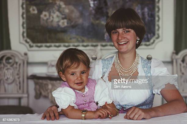 Gloria Princess of Thurn and Taxis with her daughter Princess Maria Theresia of Thurn and Taxis Regensburg Germany 1983