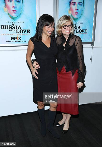 Gloria Reuben and Laura Michalchyshyn attend 'Two Russia With Love' New York Premiere at The Paramount Screening Room on October 22 2014 in New York...
