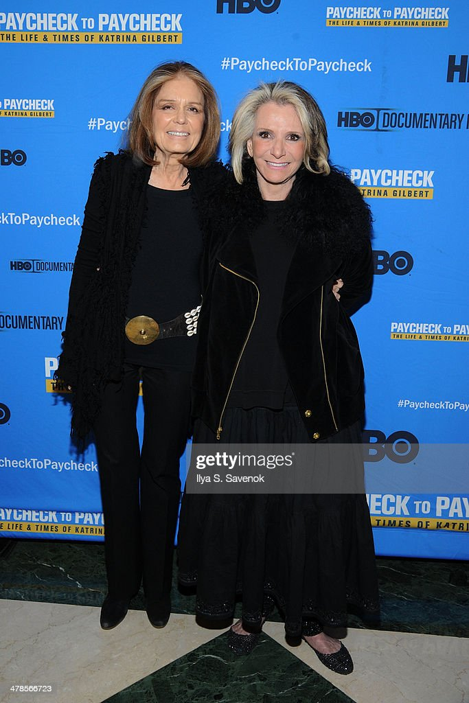 <a gi-track='captionPersonalityLinkClicked' href=/galleries/search?phrase=Gloria+Steinem&family=editorial&specificpeople=213078 ng-click='$event.stopPropagation()'>Gloria Steinem</a> and <a gi-track='captionPersonalityLinkClicked' href=/galleries/search?phrase=Sheila+Nevins&family=editorial&specificpeople=584103 ng-click='$event.stopPropagation()'>Sheila Nevins</a> attend 'Paycheck To Paycheck: The Life And Times Of Katrina Gilbert' New York Premiere at HBO Theater on March 13, 2014 in New York City.