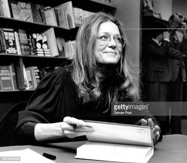 Gloria Steinem signs books at the Auraria college book store Credit The Denver Post