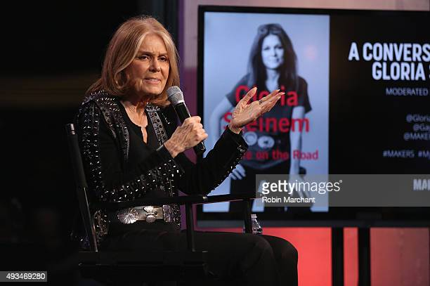 Gloria Steinem speaks onstage as MAKERS celebrates Gloria Steinem's new book My Life On The Road on October 20 2015 in New York City