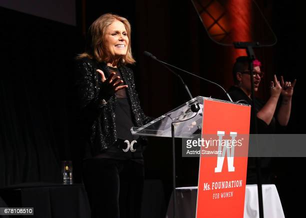 Gloria Steinem speaks onstage at the Ms Foundation for Women 2017 Gloria Awards Gala After Party at Capitale on May 3 2017 in New York City