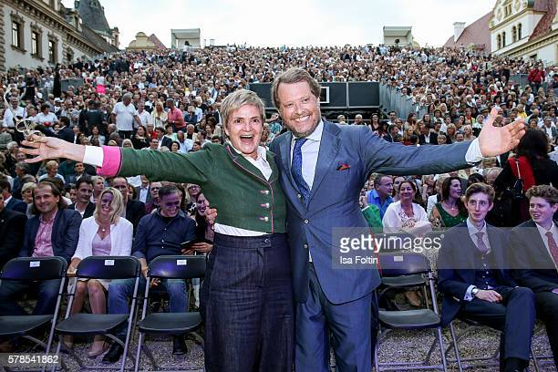 Gloria von Thurn und Taxis and her brother Carl Alban von SchoenburgGlauchau attend the Tom Jones Concert during the Thurn Taxis Castle Festival 2016...