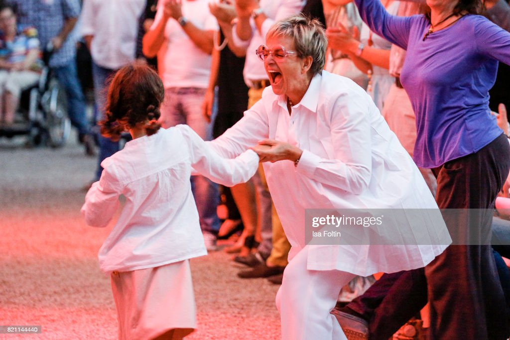 Gloria von Thurn und Taxis dances with her niece Mimi during the Sting concert at the Thurn & Taxis Castle Festival 2017 on July 22, 2017 in Regensburg, Germany.