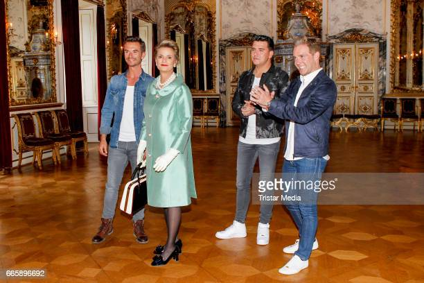 Gloria von Thurn und Taxis Florian Silbereisen Jan Smit and Christoff De Bolle of the band Klubbb3 pose during a photocall to present their new...