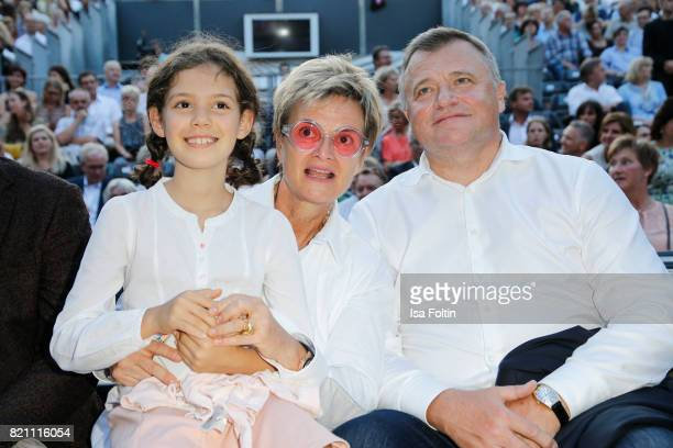 Gloria von Thurn und Taxis with her niece Mimi and Sergey Pawlowitsch Ganzha during the Sting concert at the Thurn Taxis Castle Festival 2017 on July...