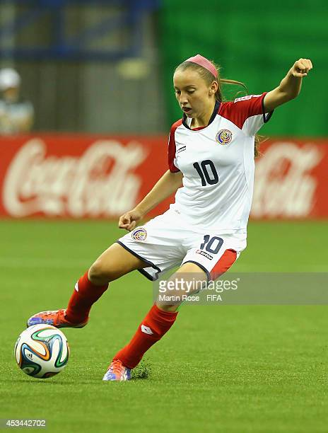 Gloriana Villalobos of Costa Rica runs with the ball during the FIFA U20 Women's World Cup 2014 group D match between Paraguay and Costa Rica at...