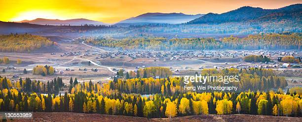 Glorious sunrise over Hemu Village, Xinjiang China