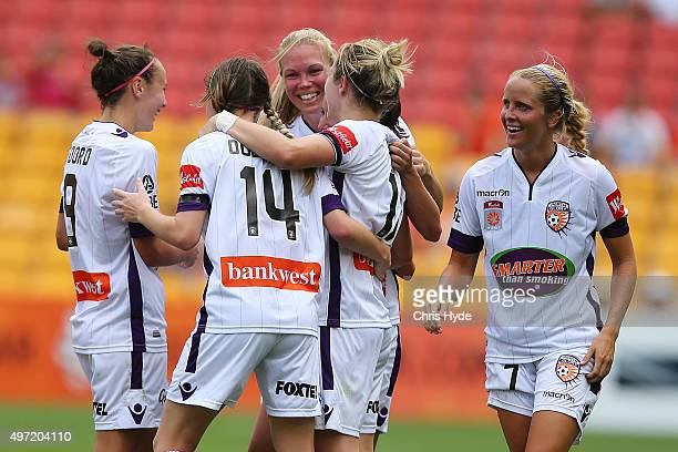 Glory celebrate a goal by Vanessa Di Bernardo during the round five WLeague match between Brisbane Roar and Perth Glory at Suncorp Stadium on...