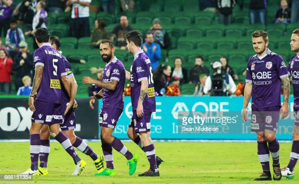 Glory celebrate a goal during the round 26 ALeague match between the Perth Glory and Brisbane Roar at nib Stadium on April 8 2017 in Perth Australia