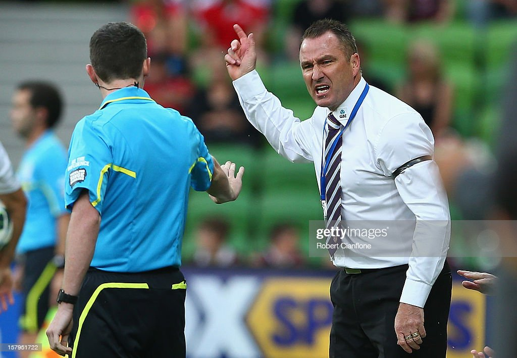 Glory coach Ian Ferguson argues with the fourth official during the round 10 A-League match between the Melbourne Heart and the Perth Glory at AAMI Park on December 8, 2012 in Melbourne, Australia.