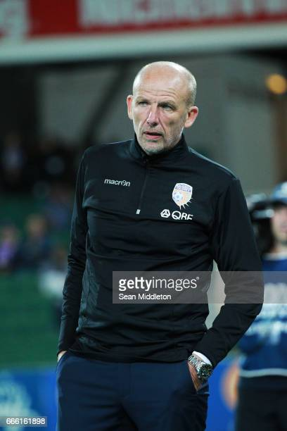 Glory Coach Kenneth Lowe during the round 26 ALeague match between the Perth Glory and Brisbane Roar at nib Stadium on April 8 2017 in Perth Australia
