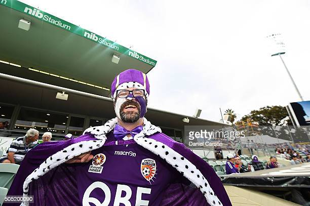 Glory fan dresses up during the round 15 ALeague match between Perth Glory and Melbourne City FC at nib Stadium on January 16 2016 in Perth Australia