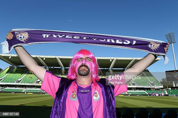 Glory fan shows his support before the round seven ALeague match between Perth Glory and Sydney FC at nib Stadium on November 21 2015 in Perth...