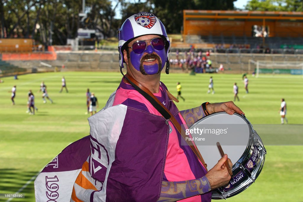 A Glory fan shows his support during the W-League Semi Final match between Perth Glory and Melbourne Victory at nib Stadium on January 20, 2013 in Perth, Australia.