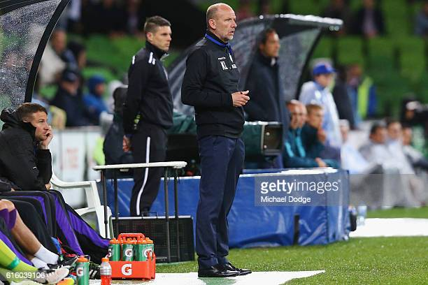 Glory head coach Kenny Lowe looks upfield during the round three ALeague match between Melbourne City FC and Perth Glory at AAMI Park on October 21...