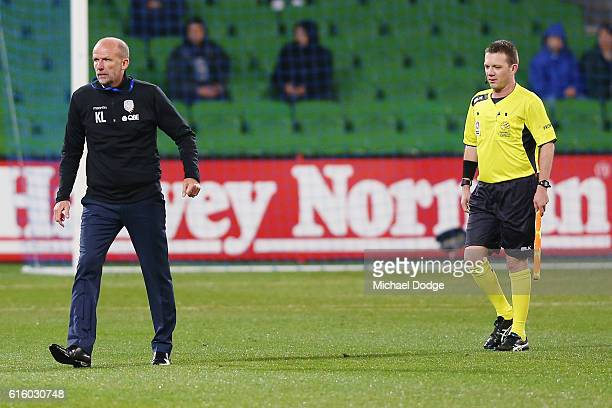 Glory head coach Kenny Lowe reacts at half time after conceding a penalty goal during the round three ALeague match between Melbourne City FC and...