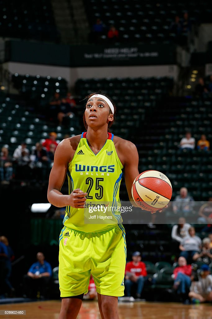 <a gi-track='captionPersonalityLinkClicked' href=/galleries/search?phrase=Glory+Johnson&family=editorial&specificpeople=5042377 ng-click='$event.stopPropagation()'>Glory Johnson</a> #25 of Dallas Wings shoots a free throw against the Indiana Fever during a preseason game on May 1, 2016 at Bankers Life Fieldhouse in Indianapolis, Indiana.