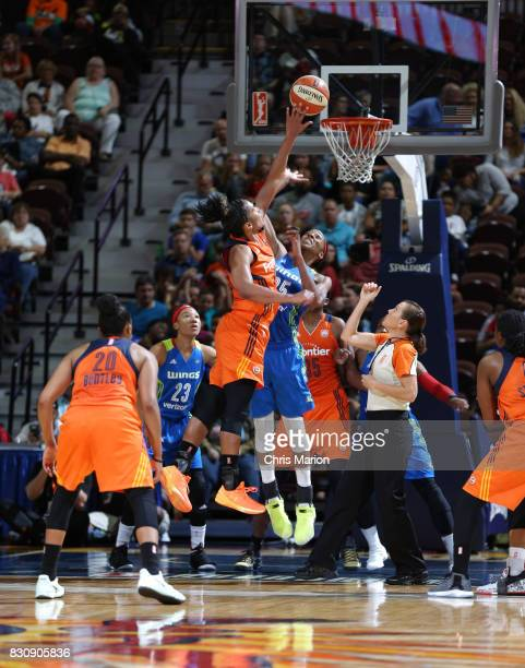 Glory Johnson of the Dallas Wings blocks the shot against the Connecticut Sun on August 12 2017 at Mohegan Sun Arena in Uncasville CT NOTE TO USER...