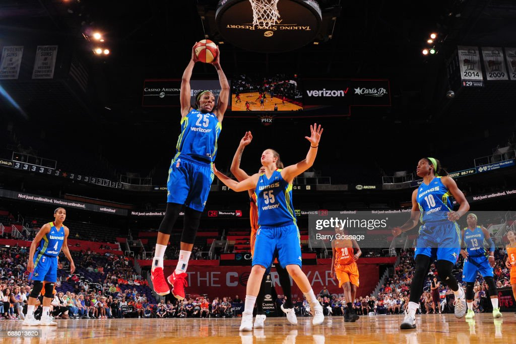 Glory Johnson #25 of the Dallas Wings grabs the rebound against the Phoenix Mercury on May 14, 2017 at Talking Stick Resort Arena in Phoenix, Arizona.