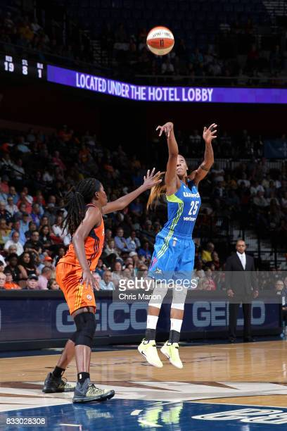 Glory Johnson of the Dallas Wings shoots the ball against the Connecticut Sun on August 12 2017 at Mohegan Sun Arena in Uncasville CT NOTE TO USER...