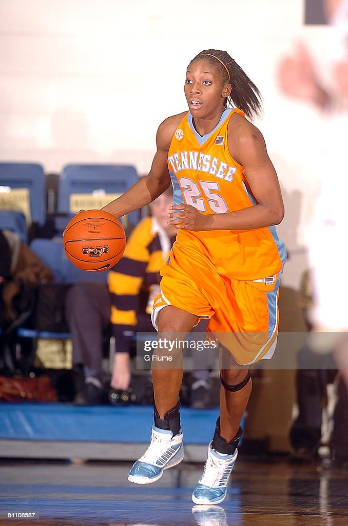 Glory Johnson of the Tennessee Volunteers brings the ball up the court against the George Washington Colonials on December 2 2008 at the Smith Center...