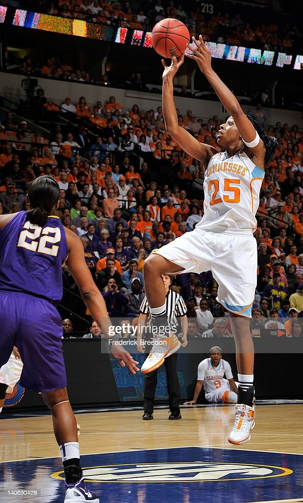 Glory Johnson #25 of the Tennessee Volunteers plays against the the LSU Tigers during the SEC Women's Basketball Tournament Championship game at the Bridgestone Arena on March 4, 2012 in Nashville, Tennessee.