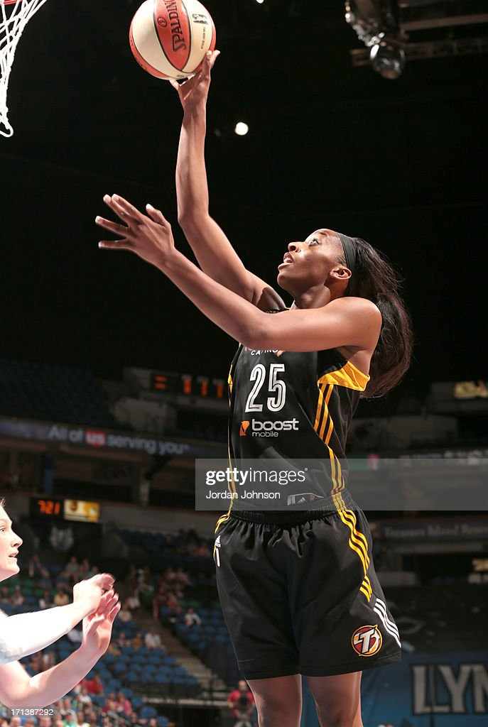 Glory Johnson #25 of the the Tulsa Shock shoots against the Minnesota Lynx during the WNBA game on June 23, 2013 at Target Center in Minneapolis, Minnesota.