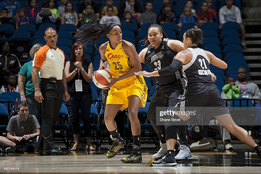 <a gi-track='captionPersonalityLinkClicked' href=/galleries/search?phrase=Glory+Johnson&family=editorial&specificpeople=5042377 ng-click='$event.stopPropagation()'>Glory Johnson</a> #25 of the Tulsa Shock handles the ball against the San Antonio Stars during the WNBA game on July 17, 2014 at the BOK Center in Tulsa, Oklahoma.