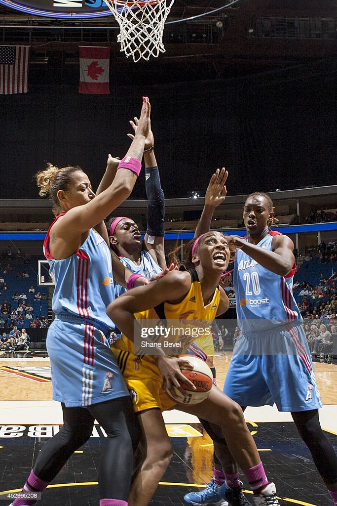 <a gi-track='captionPersonalityLinkClicked' href=/galleries/search?phrase=Glory+Johnson&family=editorial&specificpeople=5042377 ng-click='$event.stopPropagation()'>Glory Johnson</a> #25 of the Tulsa Shock looks to shoots against the Atlanta Dream during the WNBA game on July 31, 2014 at the BOK Center in Tulsa, Oklahoma.