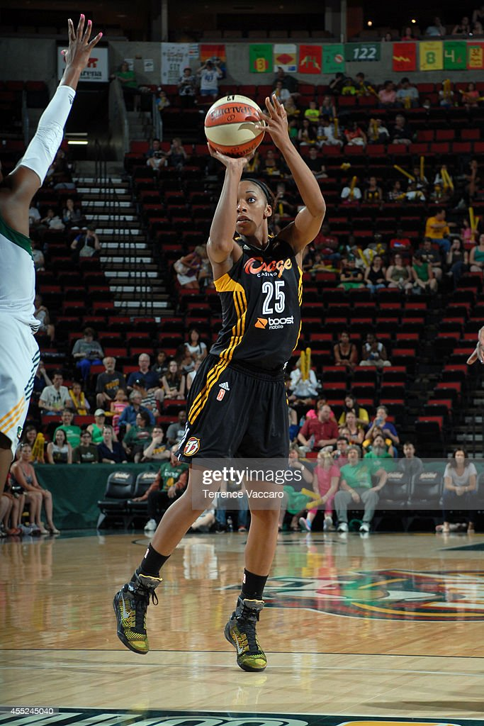 <a gi-track='captionPersonalityLinkClicked' href=/galleries/search?phrase=Glory+Johnson&family=editorial&specificpeople=5042377 ng-click='$event.stopPropagation()'>Glory Johnson</a> #25 of the Tulsa Shock shoots the ball against the Seattle Storm during the game on August 10,2014 at Key Arena in Seattle, Washington.