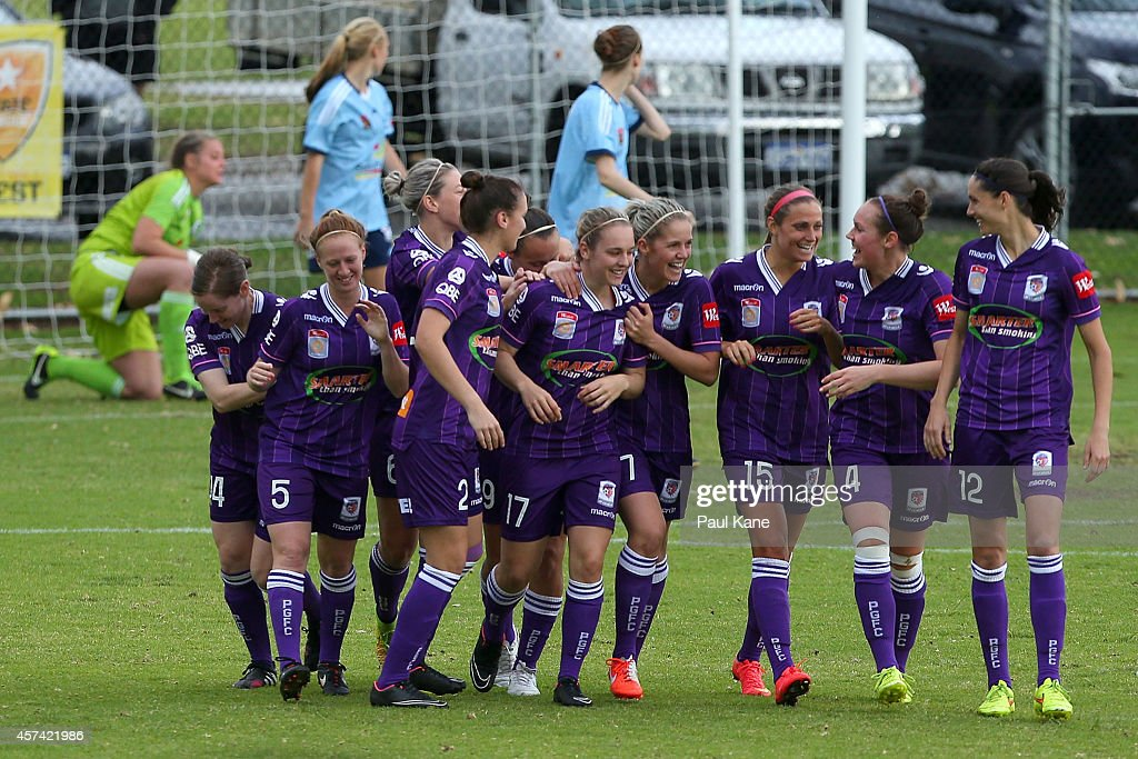 Glory players celebrate a goal by Marianna Tabain during the round six WLeague match between the Perth Glory and Sydney FC at Ashfield Sports Club on...