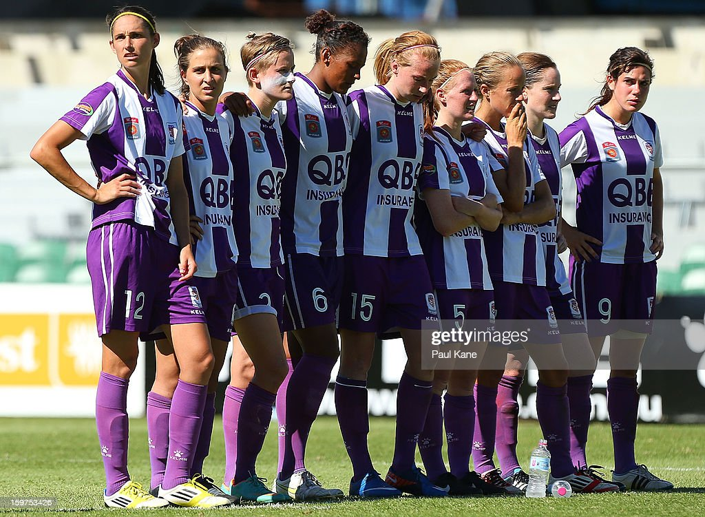 Glory players look on in the penalty shoot-out during the W-League Semi Final match between Perth Glory and Melbourne Victory at nib Stadium on January 20, 2013 in Perth, Australia.