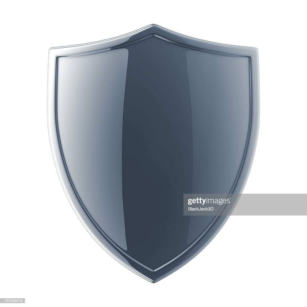 Glossy black shield on a white background