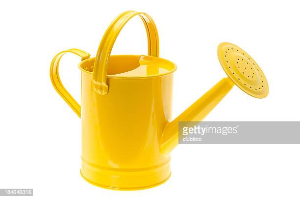 Glossy painted yellow watering can