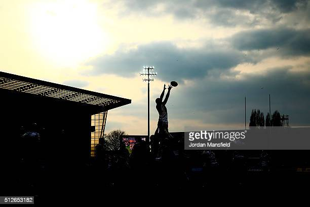 Gloucester and Newcasle compete for a lineout during the Aviva Premiership match between Gloucester Rugby and Newcastle Falcons at the Kingsholm...