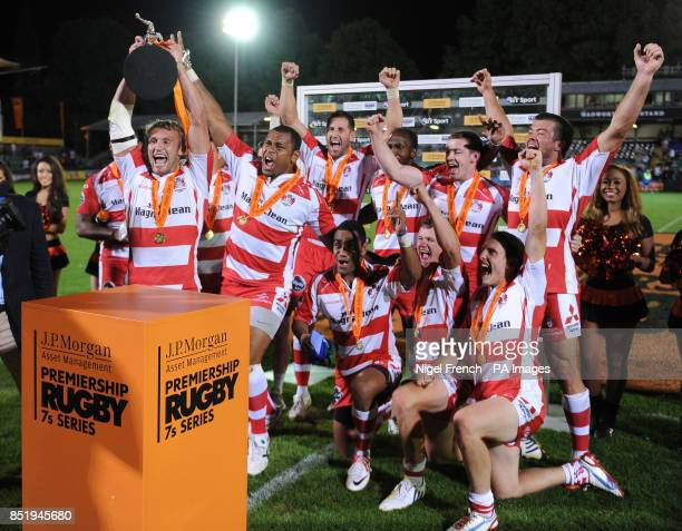Gloucester Captain Martyn Thomas lifts the trophy after his side won the JP Morgan Sries Final against the Leicester Tigers' during the JP Morgan...