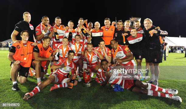 Gloucester celebrate after winning the JP Morgan Premiership Rugby series final during the JP Morgan Prem Rugby 7's at the Recreation Ground Bath
