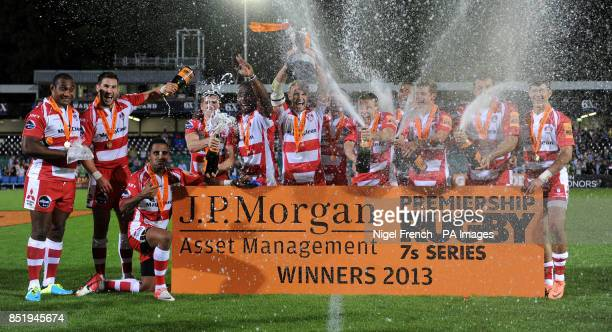 Gloucester celebrate after winning the JP Morgan Series Final 2013 during the JP Morgan Prem Rugby 7's at the Recreation Ground Bath