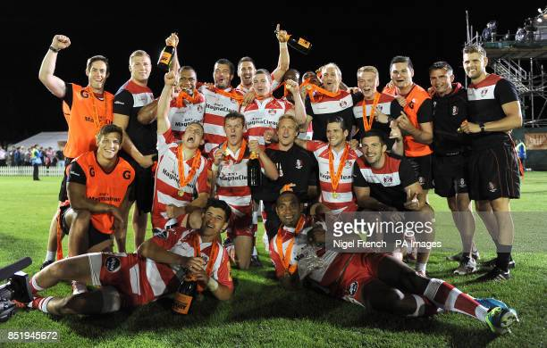 Gloucester celebrate after winning the JP Morgan Series Final for 2013 during the JP Morgan Prem Rugby 7's at the Recreation Ground Bath