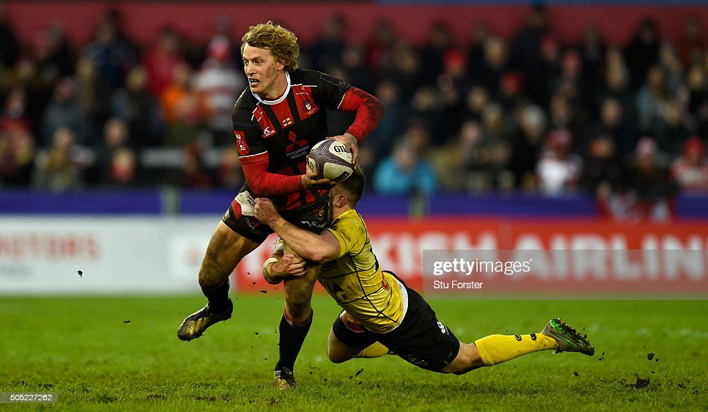 Gloucester centre Billy Twelvetrees makes a break during the European Rugby Challenge Cup match between Gloucester Rugby and La Rochelle at Kingsholm Stadium on January 16, 2016 in Gloucester, England.