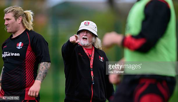 Gloucester coach Laurie Fisher reacts during Gloucester Rugby open training ahead of their European Challenge Cup final against Edinburgh on friday...