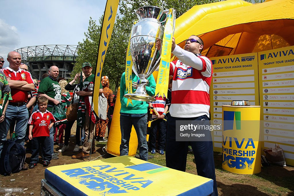 A Gloucester fan takes part in the Aviva Premiership Trophy Tour competition in the West Car Park before the Aviva Premiership Final between Leicester Tigers and Northampton Saints at Twickenham Stadium on May 25, 2013 in London, England.