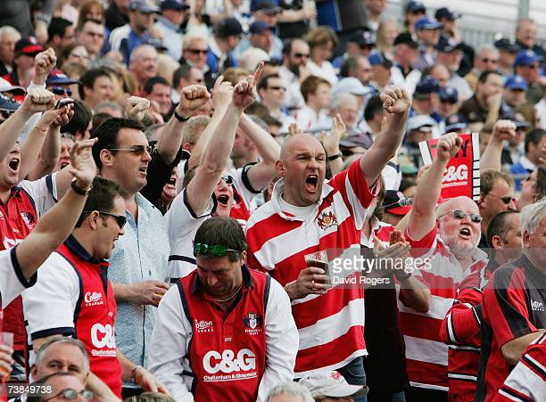 Gloucester fans celebrate during the Guinness Premiership match between Bath and Gloucester at the Recreation Ground on April 7 2007 in Bath England
