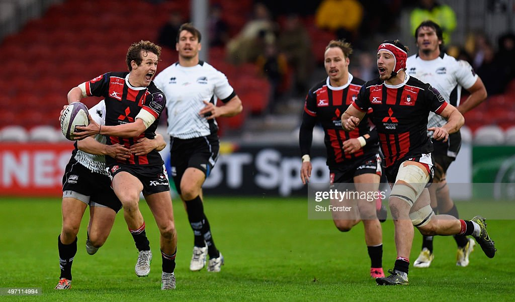Gloucester fly half Billy Burns makes a break to set up the first Gloucester try during the European Rugby Challenge Cup match between Gloucester and...